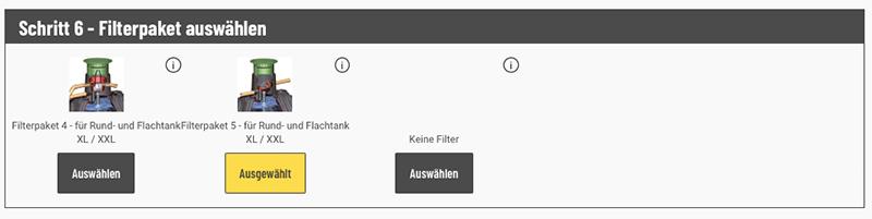 Mit Konfigurator Filterpaket wählen